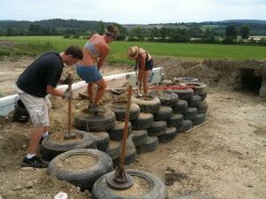 pounding tires