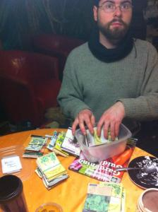Martin looking over the seeds before he puts in our Spring order!
